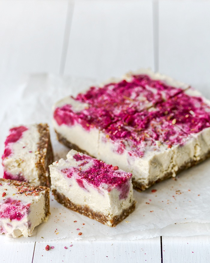 vegan rhubarb & raspberry cheesecake